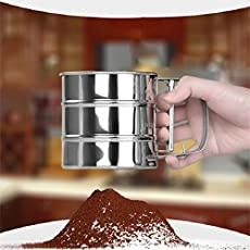 Hot Stainless Steel Mesh Flour Sifter Mechanical Baking Icing Sugar Shaker Sieve Tool Cup Shape Flour shakers