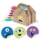 24 kleine Mini-Geschenkkarton Faltschachtel braun natur 9 x 12 x 6 cm ohne Griff + 24 Smilies emoji LUSTIGE GESICHTER Sticker Ø 4 cm als Mitgebsel zum Kindergeburtstag, give-away Schachteln
