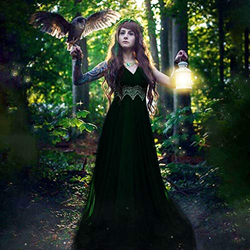 Damen Mittelalterkleid Ärmelloses Kleider Gothic Viktorianischen Königin Kostüm V-Ausschnitt Renaissance Medieval Princess Dress Elfen-Cosplays Fantasy-Kostüme Erwachsene Cosplay Karneval Fasching (Erwachsenen Schmutzigen Kostüme)