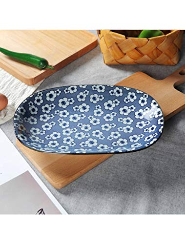 WGNMD Plate Kreative Ovalen Westlichen Gericht Obstteller Salatplatte Knödel Gericht Fischplatte Langen Teller Mikrowelle, B (Mikrowelle Knödel)