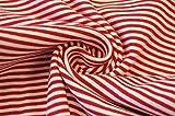 Feinstrickbündchen, Bündchen, rot/weiss gestreift 0,3m