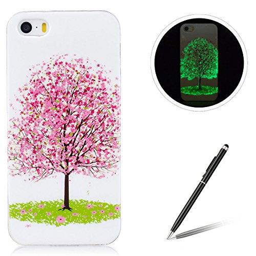 iPhone 5/5S/SE Silicone Case,iPhone 5/5S/SE Gel Case,Feeltech [Free 2 in 1 Black Stylus Pen] Luminous Effect Noctilucent Green Glow in the Dark Matte White Ultra Slim Soft Rubber Shock Absorber Flexib Albero di ciliegio rosa