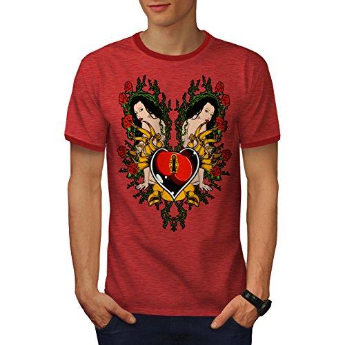 Sperren Herz Mädchen Valentine Nackt Mädchen Herren S Ringer T-shirt | Wellcoda (Mädchen Ringer Herz)