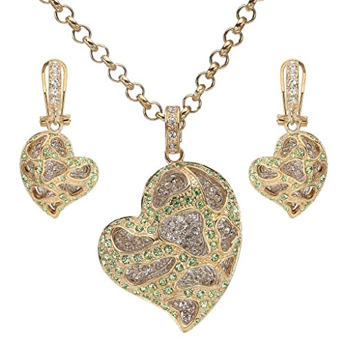 EVER FAITH Women's Crystal Heart Shape Pendant Necklace Earrings Set Green w/ Clear Gold-Tone A13132-1