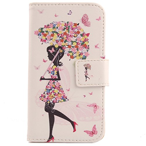 Lankashi PU Flip Leder Tasche Hülle Case Cover Handytasche Schutzhülle Etui Skin Für Alcatel One Touch Pop C7 7041D Umbrella Girl Design