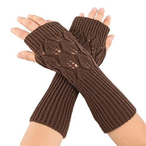 TEBAISE Handschuhe Damen für Frauen Armstulpen für Halber Finger Warme Handschuhe für Frauen Armwärmer für Handy (Ideen Weiblich Einfach Halloween-kostüm)