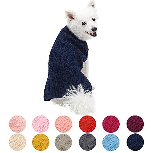 Blueberry Pet Meisterhaftes Klassisches Zopfmuster Kleid Blau Hundepulli, Rückenlänge 51cm, Einzelpackung Hundebekleidung (Kleidung Hund Pyjama Pjs)