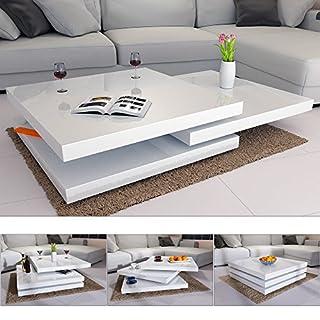 Deuba Couchtisch Wohnzimmertisch Hochglanz Beistelltisch Tisch Sofatisch Tischplatte 360° drehbar 60 x 60 cm - Weiß