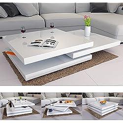 Mesa de Centro Moderna y Blanca lacada Brillante