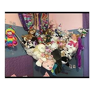 "Huijukon Toy Hammocks, Jumbo Toy Hammock Corner Toy Hammock Cuddly Toy Storage Hammock Net Organiser | Size: 84"" x 59"" x 59"" for Cuddly Toys, Stuffed Animals, Teddies, Soft Toys (White)"