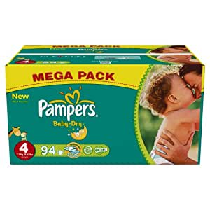 Pampers - Baby Dry - Couches Taille 4 Maxi (7-18 kg) - Format Mégapack x94 couches