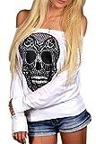 La Mujer Es Elegante Skull Print Uno Hombro Manga Larga Caida Top Blusa T Shirt White L