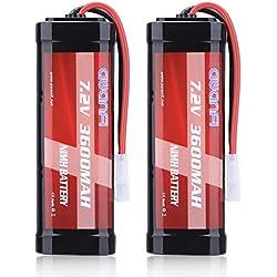 AWANFI RC Batterie Rechargeable 7,2V NiMH 3600mAh de Grande Capacité avec Connecteur Tamiya Femelle pour Modélisme Voiture Camion Bateau (Lot de 2)