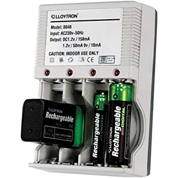 Lloytron B046 Battery Charger for AA, AAA and PP3 batteries