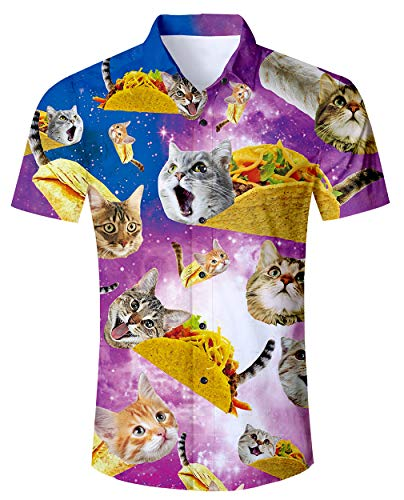 2fc67b361b6db RAISEVERN Men s Hawaiian Shirts Short Sleeve Funny Pizza Cats Printed Beach  Shirts Casul Shirts XXL