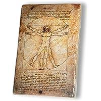 MANI Regalo - Prezioso Marmo Giallo Reale - cm. 10x15x1,2 - Leonardo da Vinci Disegni - CANONE delle PROPORZIONI di VITRUVIO - Oggetto Regalo - Oggetto d'Arte - Oggetto di Designer - Made in Italy