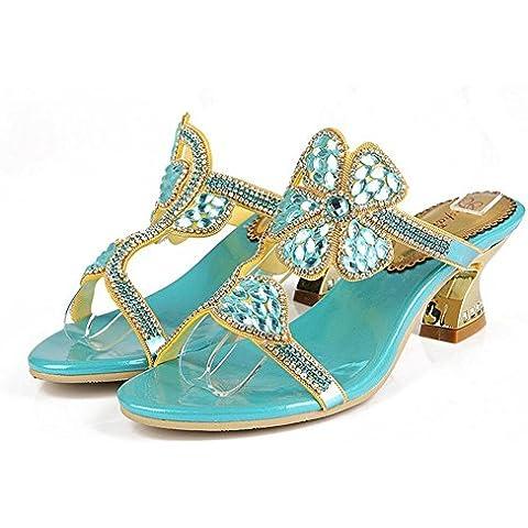 Ei&iLI Verano rhinestone sandalias 4,5 cm Slip-on de las mujeres mediados tacones sandalias de fiesta de playa vestido azul de la boda , blue ,