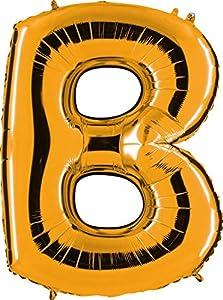 Grabo 212G-P Letra B Globo Superloon paquete individual, largo-40 pulgadas, color, oro, talla única