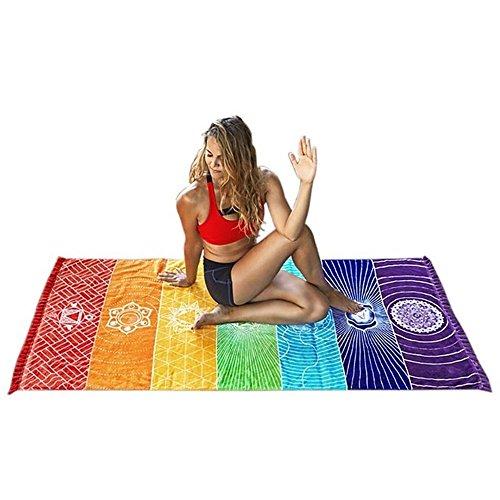 100% Baumwolle Strand Handtücher rechteckig Strand Decke mit Quaste Ultra Weich und Saugfähig Mehrzweck-Handtücher für Sommer Strand Bad, Picknick, Camping Outdoor, Yogamatte Rainbow bedruckt Farbe (Bad Handtücher Ozean)