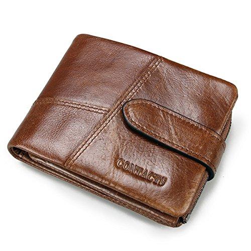Contacts Herren Geldbörse Echtes Leder-Geschäft Bifold Trifold Mappen-Kartenhalter-Münzen-Tasche Braun Braun1