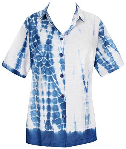 La Leela Baumwolle Tie Dye Strand Hawaiische Bluse Knopf Unten Frauenhemd Weiß Königsblau (Weiße Baumwoll-kleid Für Tie Dye)