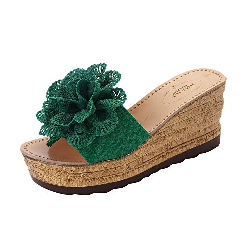 Pantofole Donna estive Elegant, ABCone Sandali con Zeppa da Donna Summer High Platform Open Toe Floral Sandali con Zeppa Impermeabili Pantofole Donna Bassi Eleganti Sandali con Zeppa
