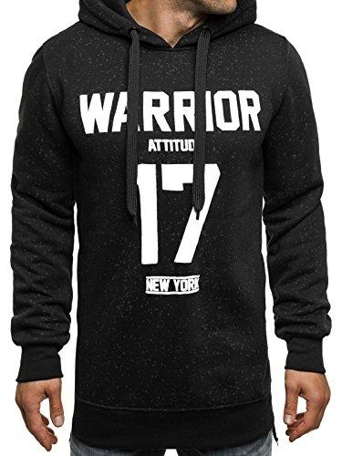 OZONEE Herren Sweatshirt Pullover Kaputzenpullover Sweats Motiv J.STYLE JXW661 M SCHWARZ