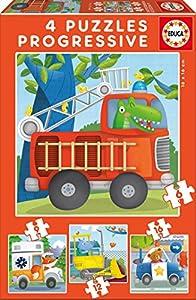 Educa Borrás Patrulla de Rescate, set de 4 puzzles progresivos de 6, 9, 12 y 16 piezas (17144)