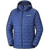 Columbia Wasserabweisende Winterjacke für Herren, Powder Lite Hooded Jacket, Polyester, blau (azul crosshatch print), Gr. L, WO1151