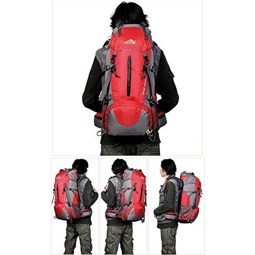 Loowoko 50L Trekkingrucksack Wanderrucksack Reiserucksack Rucksack Mit Regenabdeckung Für Outdoor Rote