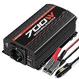 POTEK 700W Spannungswandler/Wechselrichter 12 VDC auf 220/230 VAC Inverter für Auto / Boot / Camping / Motorrad / Kfz mit 1*USB Anschlüsse, 1*Zigarettenanzünder, 2*Eurosteckdose,4*Ersatzsicherungen, 2*Autobatterieclips