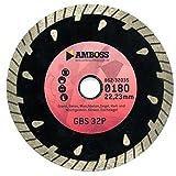 Amboss GBS 32P - Diamant-Trennscheibe Ø 230 mm x 22,2 mm - Granit / Beton / Waschbeton / Hart- & Weichgestein / Klinker / Dachziegel | Segmenthöhe: 10 mm (gesintert)