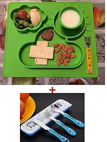 Assiette & Napperon en silicone Bol Arrêt de Porte Inclus / Placemat Antidérapants pour Bébés / Vaisselle pour Enfant avec 3-Section/Tapis de Table et Plague d