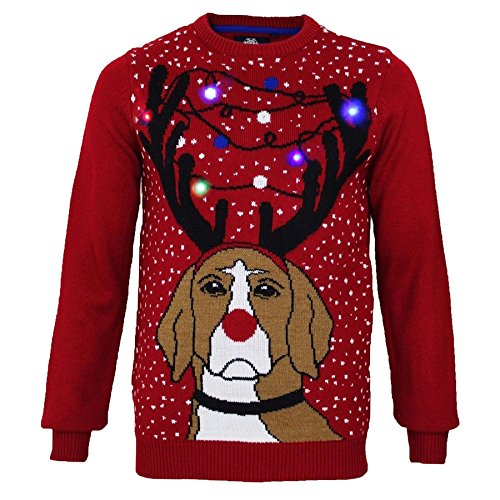 Adultes threadbare Grumpy Pull pour chien Light Up de Noël red