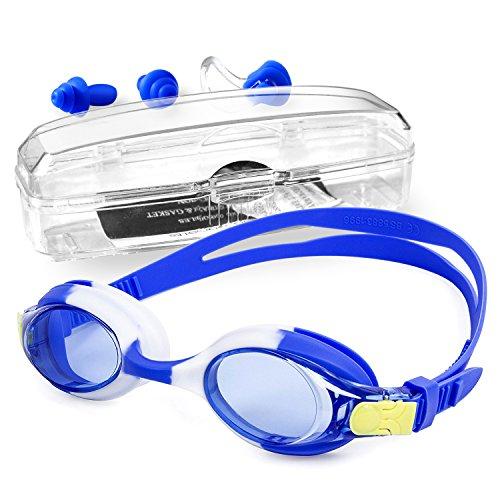 Niños gafas de natación con clip de nariz y tapones para los oídos, estuche de protección, sin protección contra los rayos UV antiparásitos de natación con correa ajustable (azul)