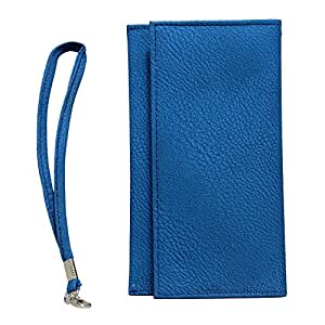 Jo Jo A5 G8 Leather Wallet Universal Pouch Cover Case For Micromax Canvas Hd A116 Exotic Blue