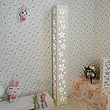 ELINKUME LED Moderne Lampe de Sol Blanc Chaud PVC Bois Plaque en Plastique à Pédale Intérieur Éclairage Parfait pour la Maison, Salon, Chambre à Coucher AC200-240V (Fleurs)