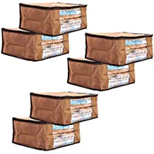 Solimo 6 Piece Non Woven Fabric Saree Cover Set with Transparent Window, Large, Brown