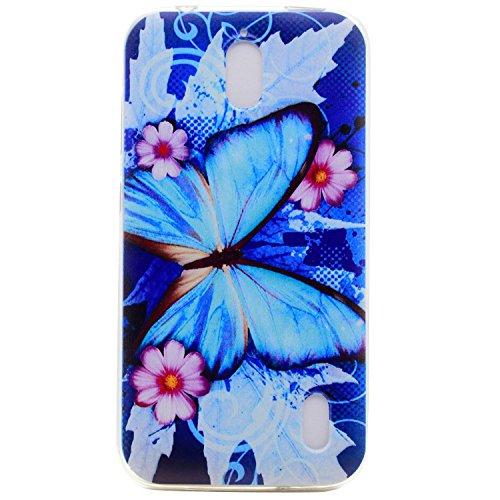 Für Huawei Ascend Y625 (5 Zoll) Hülle ZeWoo® TPU Schutzhülle Silikon Tasche Case Cover - XX036 / Blauer Schmetterling