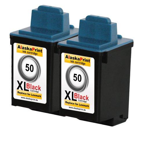 Premium 2x Kompatible Druckerpatronen Als Ersatz für Lexmark 50 XL Tintenpatrone Schwarz 2x50- Lex (Schwarz Tinte 17g0050)