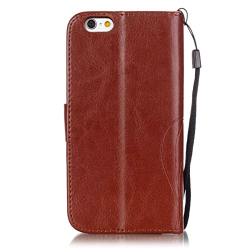Premium PU Housse en cuir Housse Folio Flip Stand Case Embossing Fleur pour iPhone 6S Plus 5.5 pouces ( Color : Brown , Size : IPhone 6S Plus ) Brown