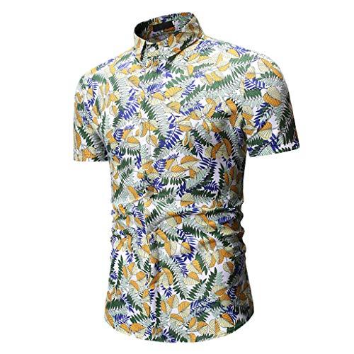 SANFASHION Herren Hawaiihemd 3D Gedruckt Muster Kurzarm Front-Tasche Strand Palmen Meer Freizeit Hemd Button Down Graphic Hemden Shirts