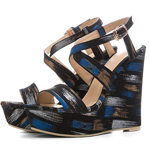 SimpleC Damen Bluemen Bedruckt Peep-Toe Hoher Absatz Knöchelriemen Keil Sandalen A645-Blau 38