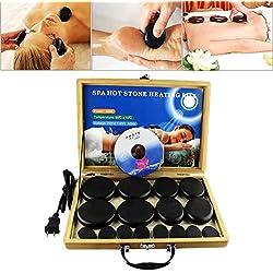 Conjunto de masajes con Pietras calientes 16 unidades Piedras de basalto Calentador SPA Aceite de masaje Piedra volcánica Caja de bambú