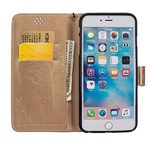 "Rabat Style iPhone 6S Coque Cuir Portefeuille iPhone 6 Case, Les amants et le pissenlit Embossage Motif Belle Mode Housse de Protection pour Apple iPhone 6 6S 4.7"" Carte Titulaire PU Souple - Blanc Or"