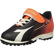 Diadora Ragazzi 7 Tri TF Jr FOOTBAL Scarpe Nero nero/rosso fluo 11 UK