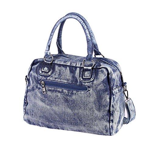 OBC ital-design XXL Damen Stern Tasche Fransen Handtasche Canvas Baumwolle Strasssteine Gold-Silber Bowling Beuteltasche Hobo-Bag Henkel Shopper CrossOver (Blau-Silber) Blau 35x30x15 cm