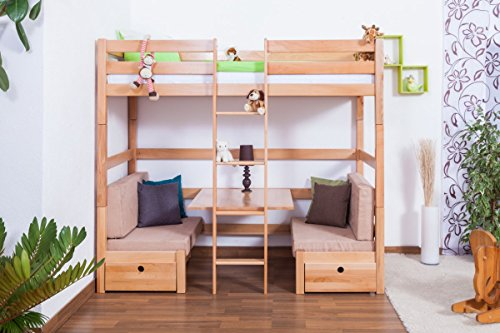 Kinderbett / Etagenbett / Funktionsbett Tim (umbaubar zu einem Tisch mit Bänken oder zu 2 Tagesbetten) Buche massiv natur inkl. Rollrost - 90 x 200 cm