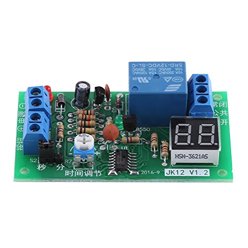 DC12V Digital LED Anzeige Countdown Timing Delay Timer Schalter Ausschalten Relais Modul 1-99s / 1-99min Einstellbar