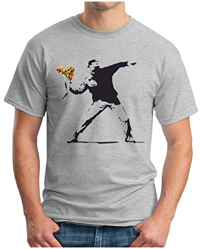 OM3® - Banksy Flower Thrower - T-Shirt Urban Street Art Peace Paix Punk Indie Sozial Kritik Geek Swag, 3XL, Grau Meliert